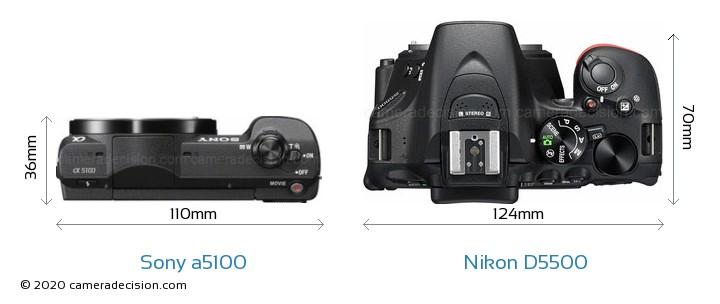 Sony a5100 vs Nikon D5500 Camera Size Comparison - Top View