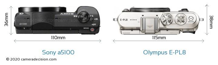 Sony a5100 vs Olympus E-PL8 Camera Size Comparison - Top View