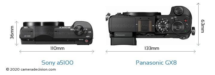 Sony a5100 vs Panasonic GX8 Camera Size Comparison - Top View