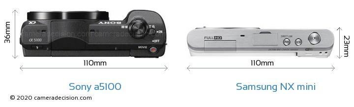 Sony a5100 vs Samsung NX mini Camera Size Comparison - Top View
