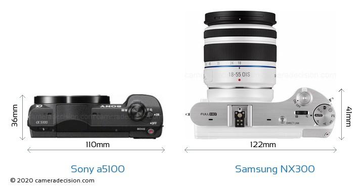 Sony a5100 vs Samsung NX300 Camera Size Comparison - Top View