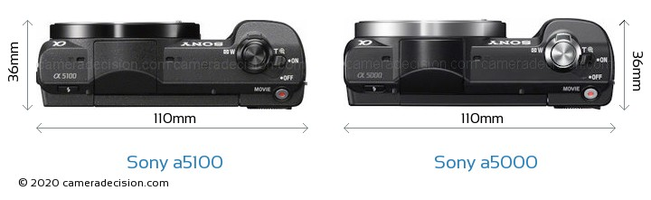 Sony a5100 vs Sony a5000 Camera Size Comparison - Top View
