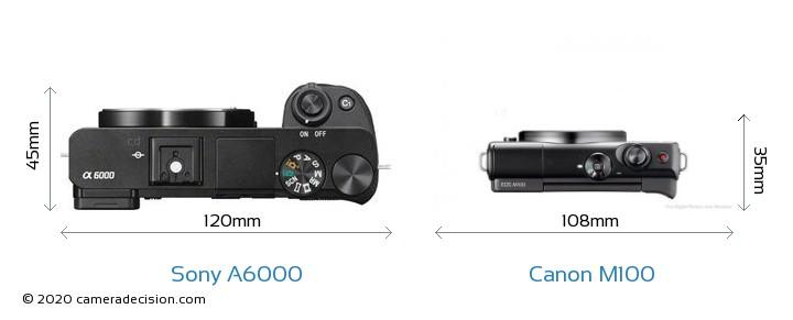 Sony A6000 vs Canon M100 Camera Size Comparison - Top View