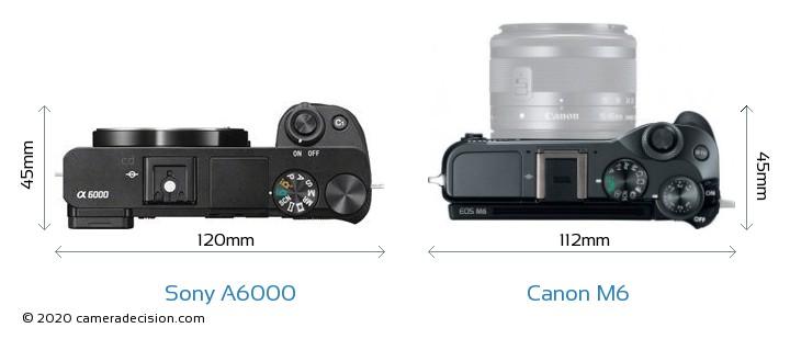 Sony A6000 vs Canon M6 Camera Size Comparison - Top View