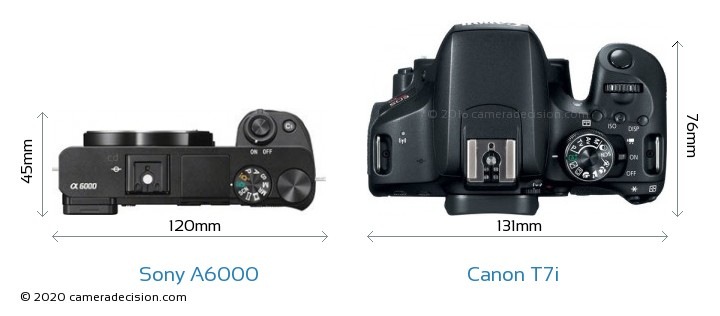 Sony A6000 vs Canon T7i Camera Size Comparison - Top View