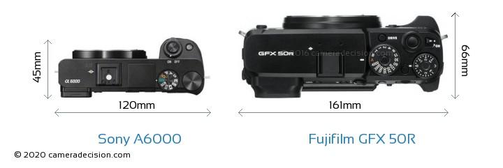 Sony A6000 vs Fujifilm GFX 50R Camera Size Comparison - Top View