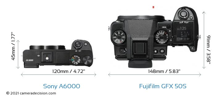 Sony A6000 vs Fujifilm GFX 50S Camera Size Comparison - Top View