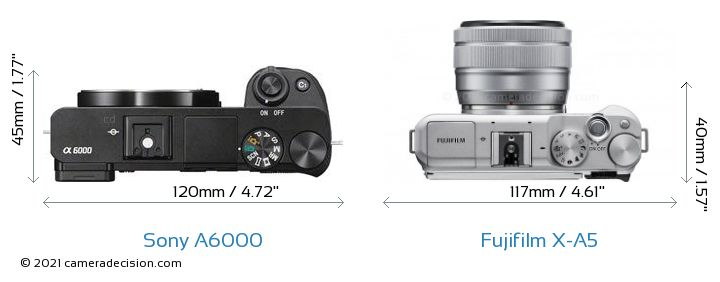 Sony A6000 vs Fujifilm X-A5 Camera Size Comparison - Top View