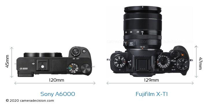Sony A6000 vs Fujifilm X-T1 Camera Size Comparison - Top View