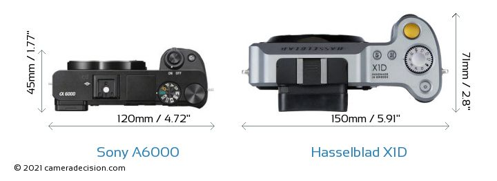 Sony A6000 vs Hasselblad X1D Camera Size Comparison - Top View