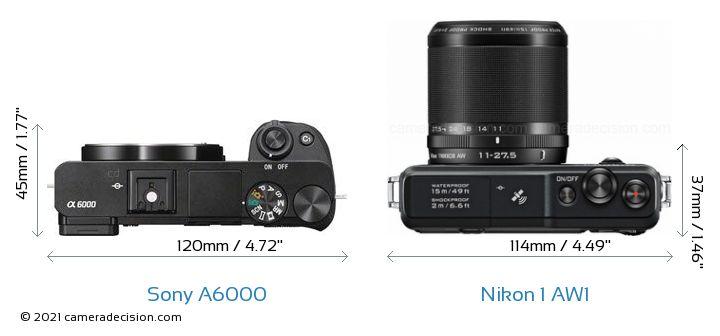 Sony A6000 vs Nikon 1 AW1 Camera Size Comparison - Top View