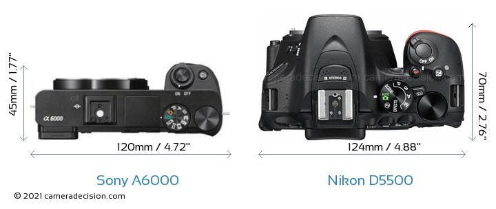 Sony A6000 vs Nikon D5500 Camera Size Comparison - Top View