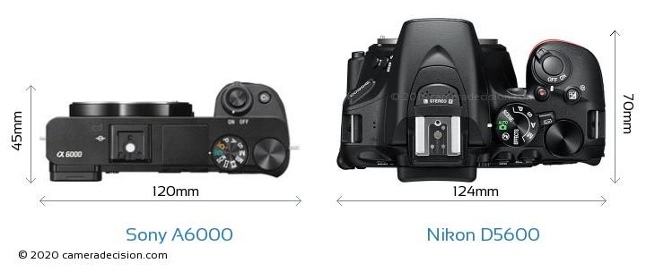 Sony A6000 vs Nikon D5600 Camera Size Comparison - Top View