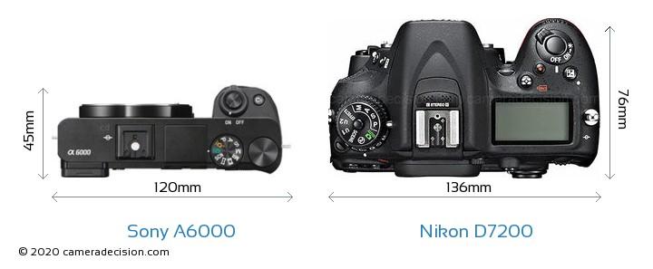 Sony A6000 vs Nikon D7200 Camera Size Comparison - Top View