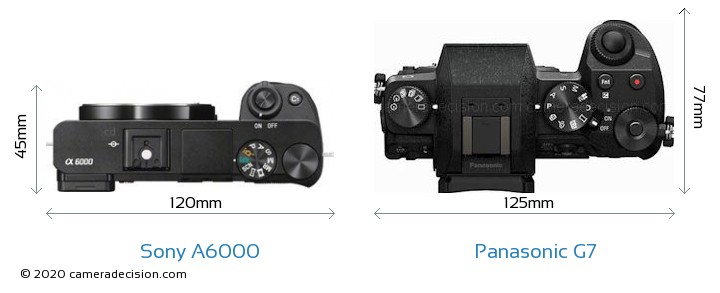 Sony A6000 vs Panasonic G7 Camera Size Comparison - Top View