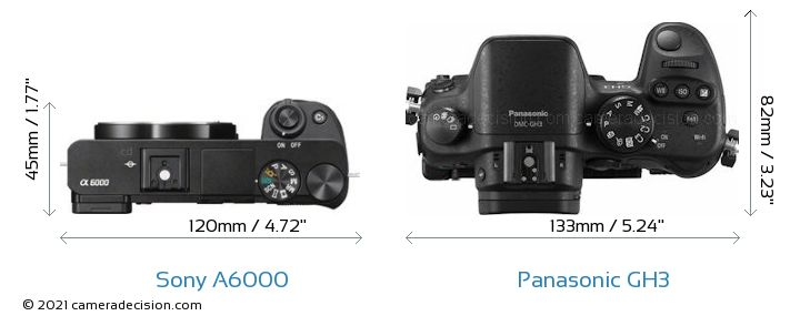 Sony A6000 vs Panasonic GH3 Camera Size Comparison - Top View