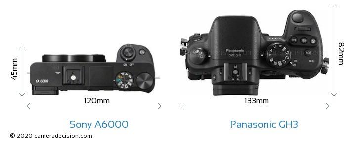 Sony A6000 vs Panasonic GH3 Camera Size Comparison - Top View