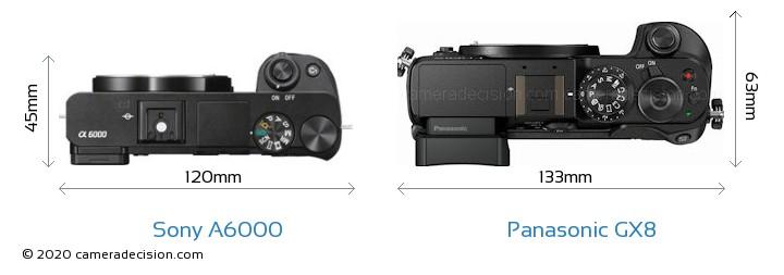 Sony A6000 vs Panasonic GX8 Camera Size Comparison - Top View