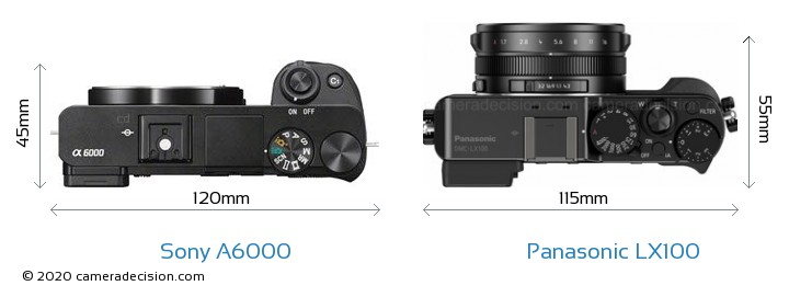 Sony A6000 vs Panasonic LX100 Camera Size Comparison - Top View