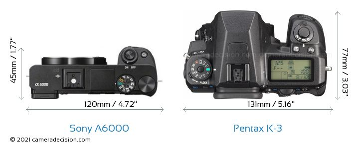 Sony A6000 vs Pentax K-3 Camera Size Comparison - Top View