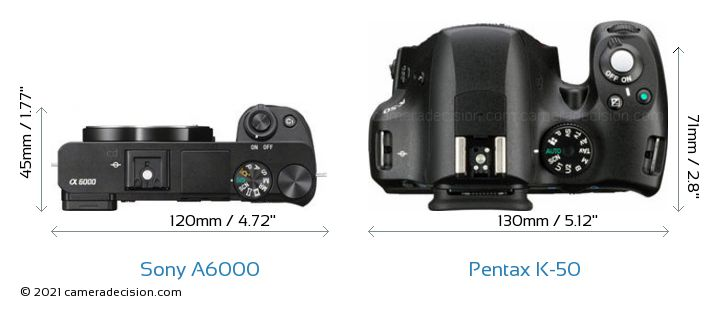 Sony A6000 vs Pentax K-50 Camera Size Comparison - Top View