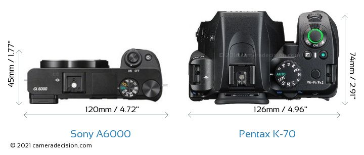 Sony A6000 vs Pentax K-70 Camera Size Comparison - Top View
