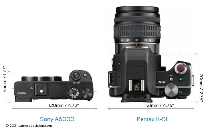 Sony A6000 vs Pentax K-S1 Camera Size Comparison - Top View