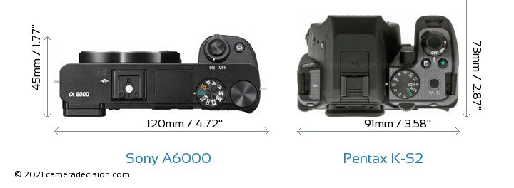 Sony A6000 vs Pentax K-S2 Camera Size Comparison - Top View