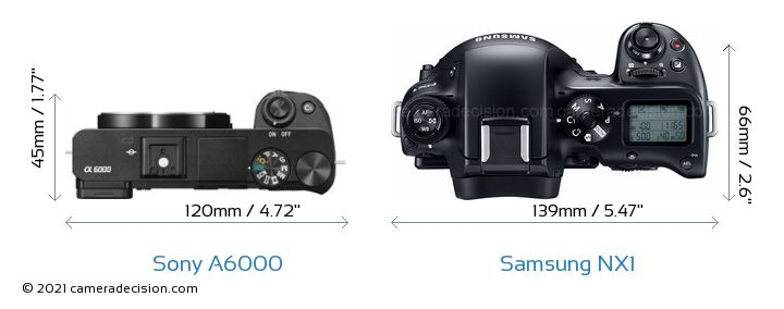 Sony A6000 vs Samsung NX1 Camera Size Comparison - Top View