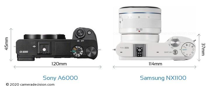 Sony A6000 vs Samsung NX1100 Camera Size Comparison - Top View