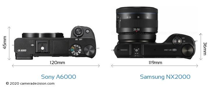 Sony A6000 vs Samsung NX2000 Camera Size Comparison - Top View