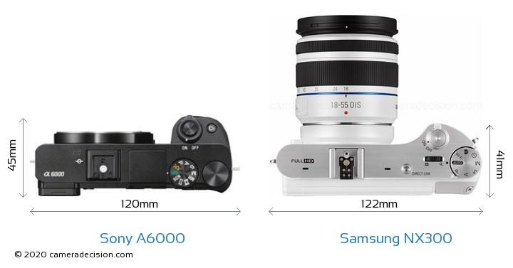 Sony A6000 vs Samsung NX300 Camera Size Comparison - Top View