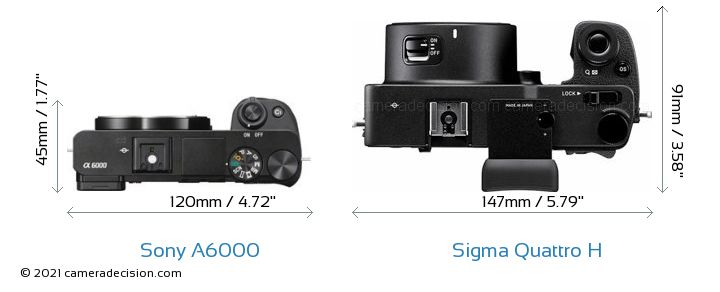 Sony a6000 vs Sigma Quattro H Camera Size Comparison - Top View