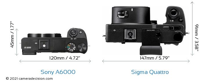 Sony A6000 vs Sigma Quattro Camera Size Comparison - Top View