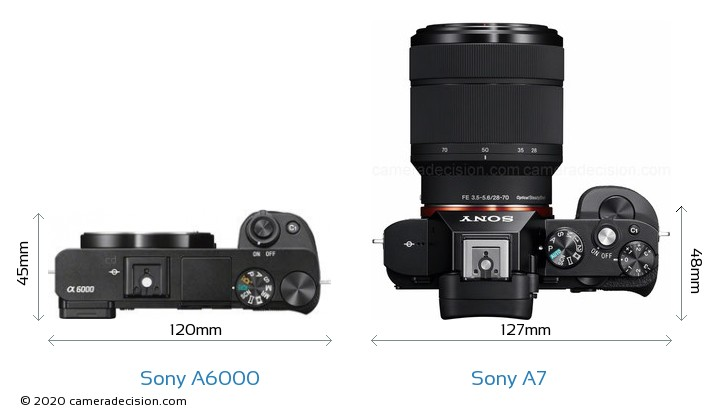 Sony A6000 vs Sony A7 Camera Size Comparison - Top View