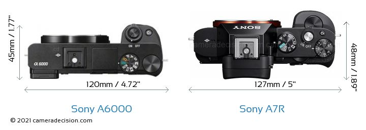 Sony A6000 vs Sony A7R Camera Size Comparison - Top View