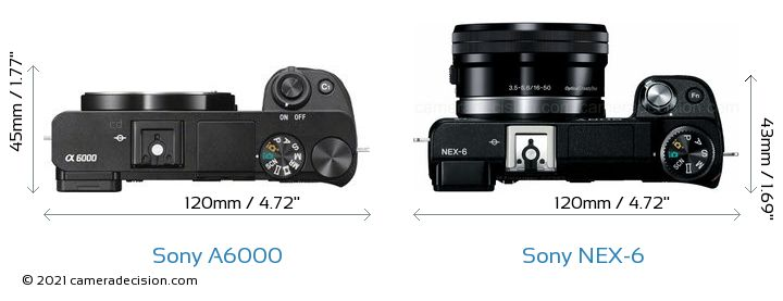 Sony A6000 vs Sony NEX-6 Camera Size Comparison - Top View