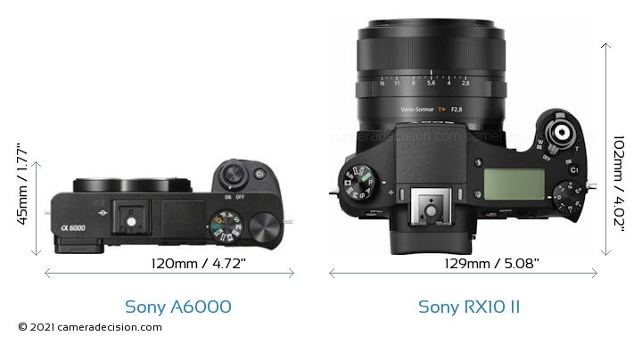 Sony A6000 vs Sony RX10 II Camera Size Comparison - Top View