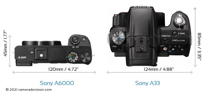 Sony A6000 vs Sony A33 Camera Size Comparison - Top View