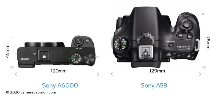 Sony A6000 vs Sony A58 Camera Size Comparison - Top View