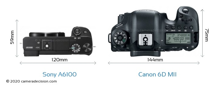 Sony A6100 vs Canon 6D MII Camera Size Comparison - Top View