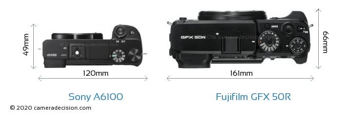 Sony A6100 vs Fujifilm GFX 50R Camera Size Comparison - Top View