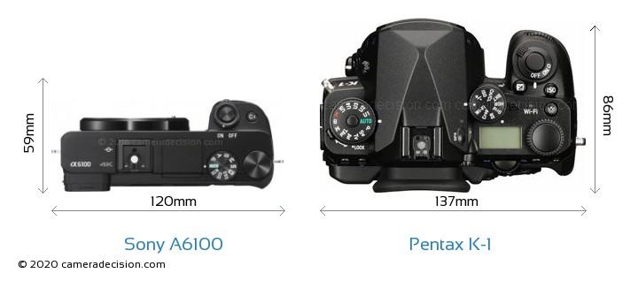 Sony A6100 vs Pentax K-1 Camera Size Comparison - Top View