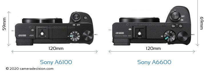 Sony A6100 vs Sony A6600 Camera Size Comparison - Top View