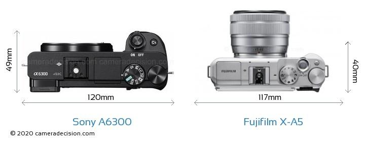 Sony A6300 vs Fujifilm X-A5 Camera Size Comparison - Top View