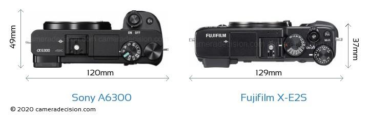 Sony A6300 vs Fujifilm X-E2S Camera Size Comparison - Top View