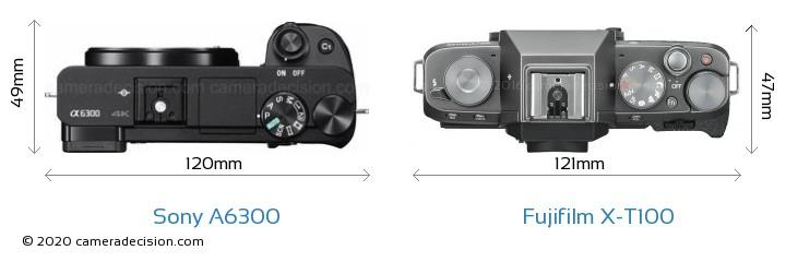 Sony A6300 vs Fujifilm X-T100 Camera Size Comparison - Top View