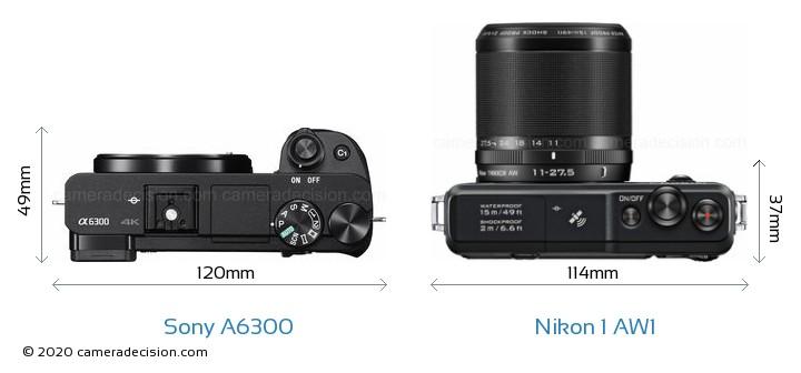 Sony A6300 vs Nikon 1 AW1 Camera Size Comparison - Top View