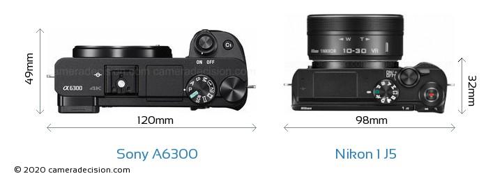 Sony A6300 vs Nikon 1 J5 Camera Size Comparison - Top View