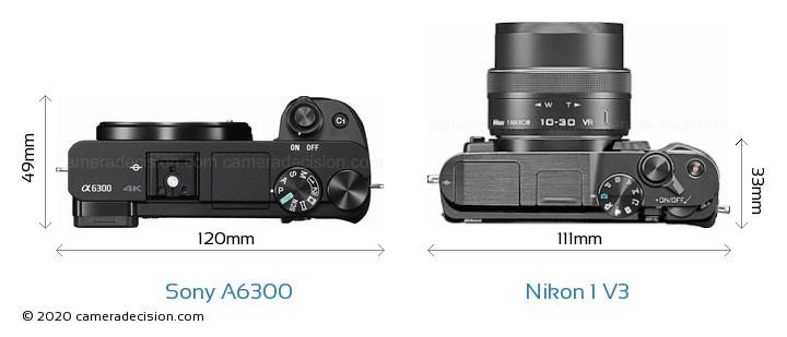 Sony A6300 vs Nikon 1 V3 Camera Size Comparison - Top View